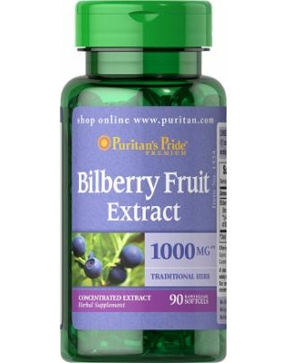 Puritan's Pride Bilberry 4:1 Extract 1000 mg/ 90 Softgels