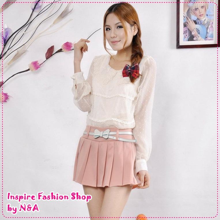 กระโปรงกางเกงแฟชั่นพร้อมเข็มขัดโบว์เก๋ๆ สีชมพู 2012 Korean Women fashion candy skirt pants / shorts color Skorts (Free Belt)