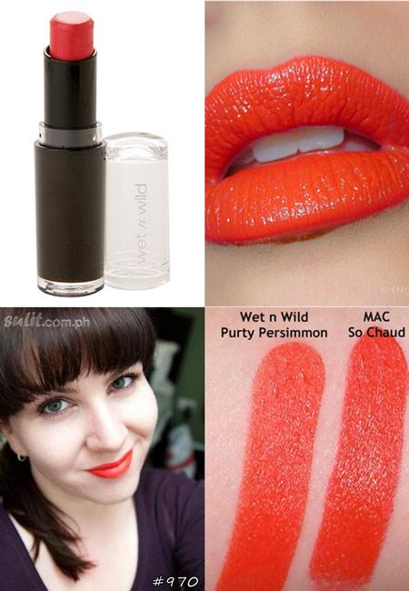 ขายของแท้เท่านั้น Wet n Wild Mega Last Lip Color 3.3 g # 970 Purty Persimmon ส้มอมแดงสุดร้อนแรง สีคล้าย MAC Sochuad