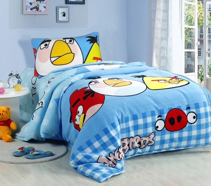 [Preorder] ผ้าปูที่นอนเตียงเดี่ยว (ไซส์ 3.3 ฟุต, 4 ฟุต หรือ 4.5 ฟุต) ลาย Angry Bird สีฟ้าอ่อน Cartoon coral velvet three-piece children's bed dormitory bed linen products