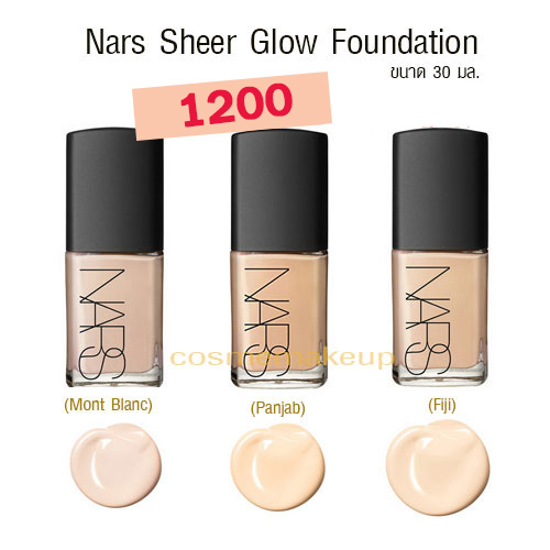 Nars Sheer Glow Foundation # Fiji (Light5) ขนาดขายจริง 30 มล. พร้อมกล่อง เคาเตอร์ไทย