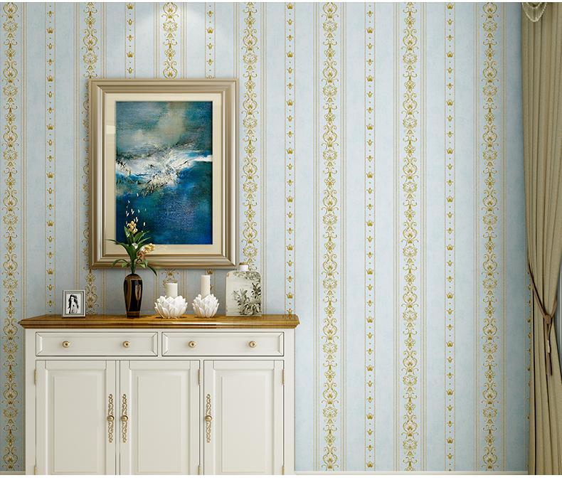 Wallpaper วอลเปเปอร์ ติดผนัง 3D ลายสวยๆ สีฟ้า-ทอง