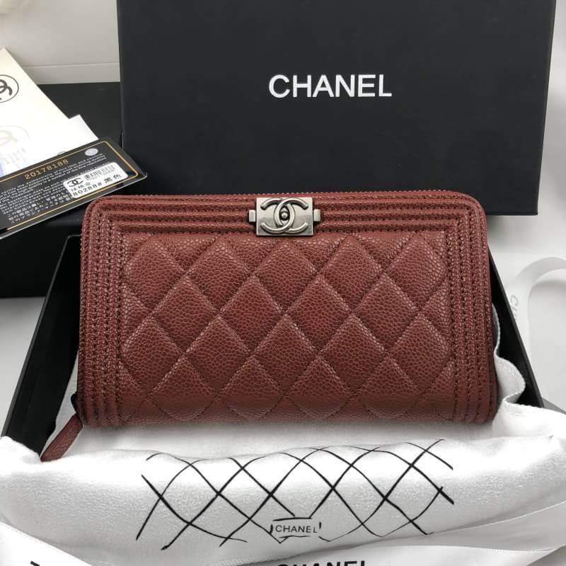 กระเป๋าแบรนด์ Chanel wallet ใบยาว อะไหล่เงินรมควัน งานHiend Original