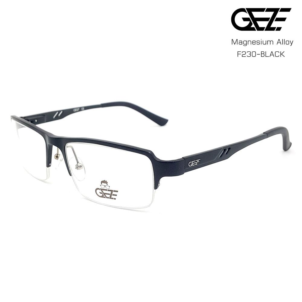 แว่นตาผู้ชาย โลหะ Magnesium น้ำหนักเบา ใส่สบาย GEZE SABER รุ่น F230 สีดำ อายุการใช้งานยาวนาน ด้วยโลหะ Aluminium Magnesium Alloy