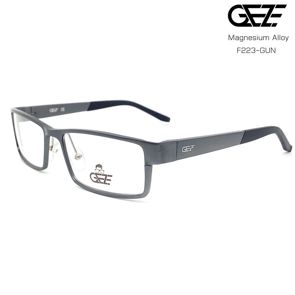 แว่นตาผู้ชาย โลหะ Magnesium น้ำหนักเบา ใส่สบาย GEZE SABER รุ่น F223 สีเทาเข้ม อายุการใช้งานยาวนาน ด้วยโลหะ Aluminium Magnesium Alloy