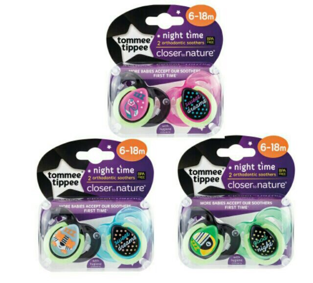 Tommee Tippee Night Time Soothers 6-18m Bear