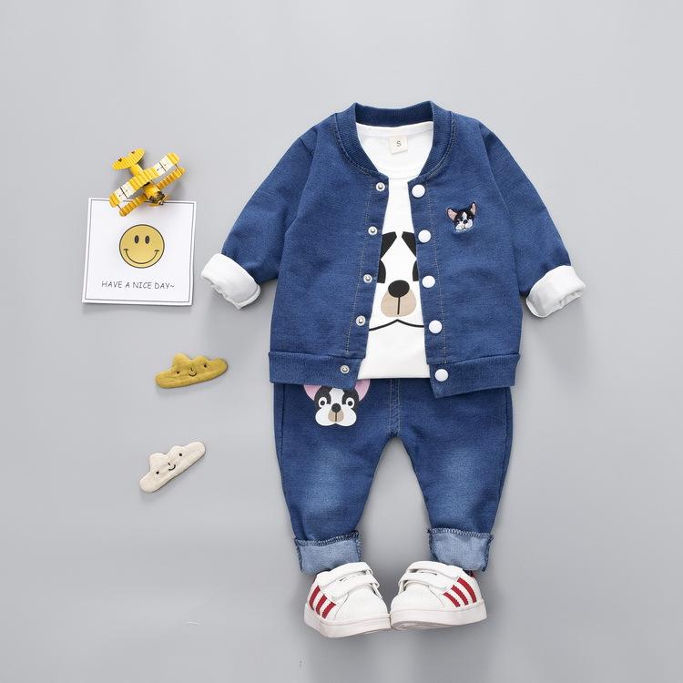 PRE-ORDER ชุดเด็ก แบบเซต 3 ชิ้น เสื้อแขนสั้นสีขาว เสื้อยีนส์แขนยาว กางเกงยีนส์ขายาว