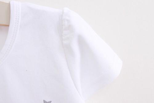 เสื้อผ้า เด็ก หญิง เสื้อ สี ขาว ลาย แมว กระโปรง สี เทา 1 ขวบ ถึง 2 ขวบ