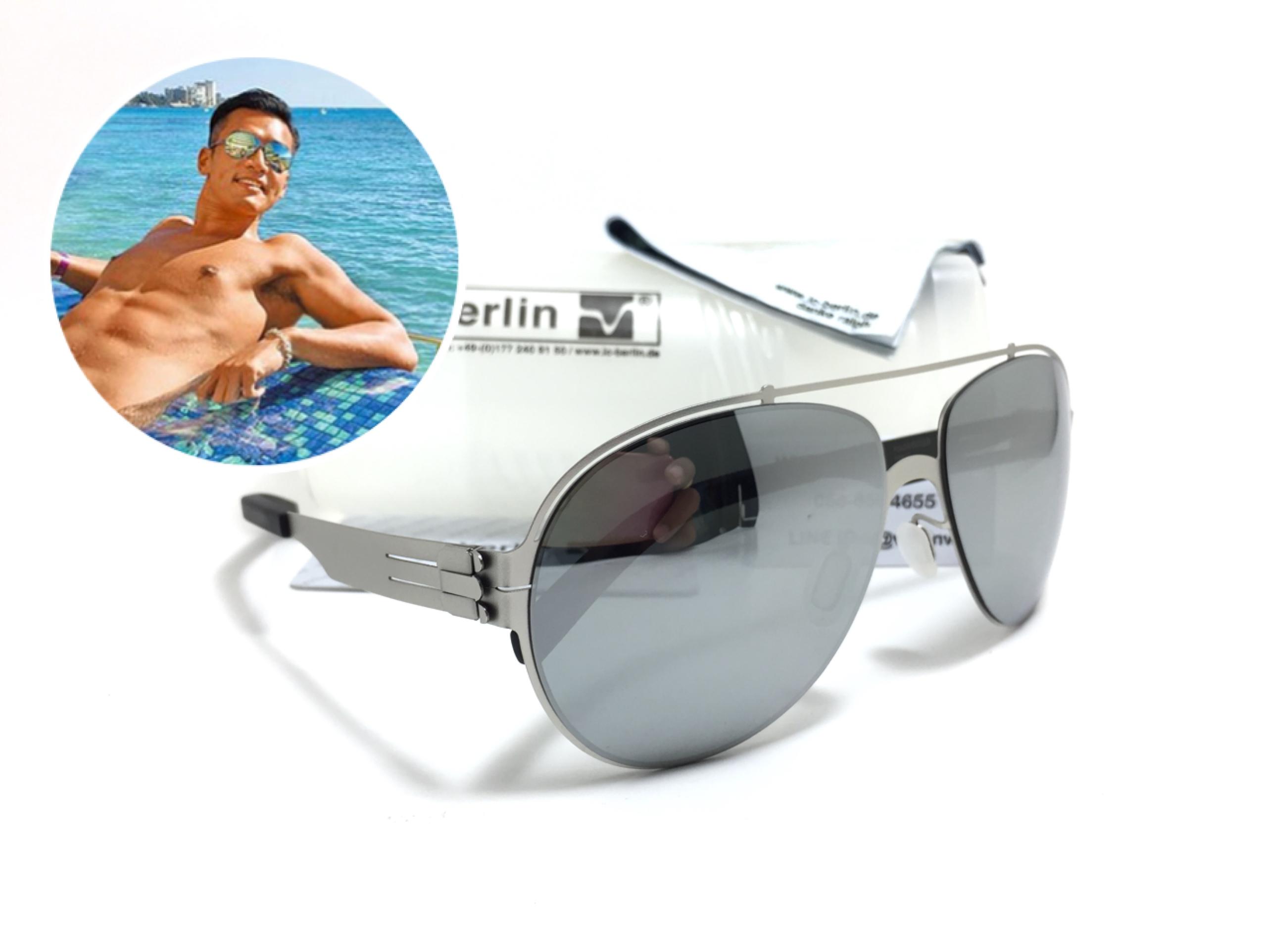 แว่นกันแดด ic berlin model ruckblick pearl 60-15 <ปรอทเงิน>