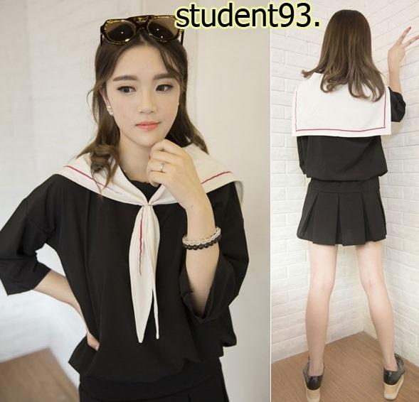 รหัส student93 สีดำ ชุดคอสเพลย์นักเรียน