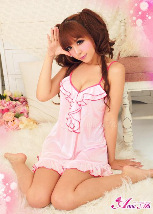 2in1 Sexy Pink Dress Babydoll ชุดนอนเซ็กซี่ผ้ามันลื่นสีชมพูแต่งระบายที่อก ระบายชาย พร้อมจีสตริง
