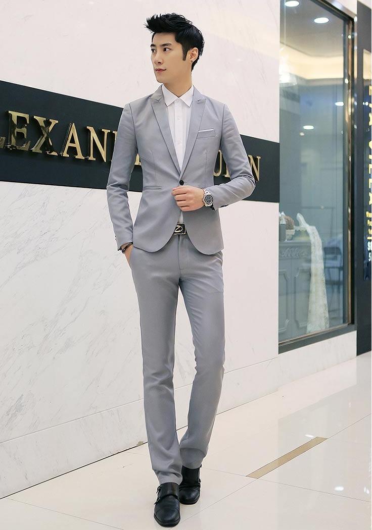 สูท,ชุดสูทชาย แฟชั่น ผ้าโพลีเอสเตอร์ กางเกงขากระบอกเล็ก *สูท+กางเกง* คลิก เพื่อดู Size