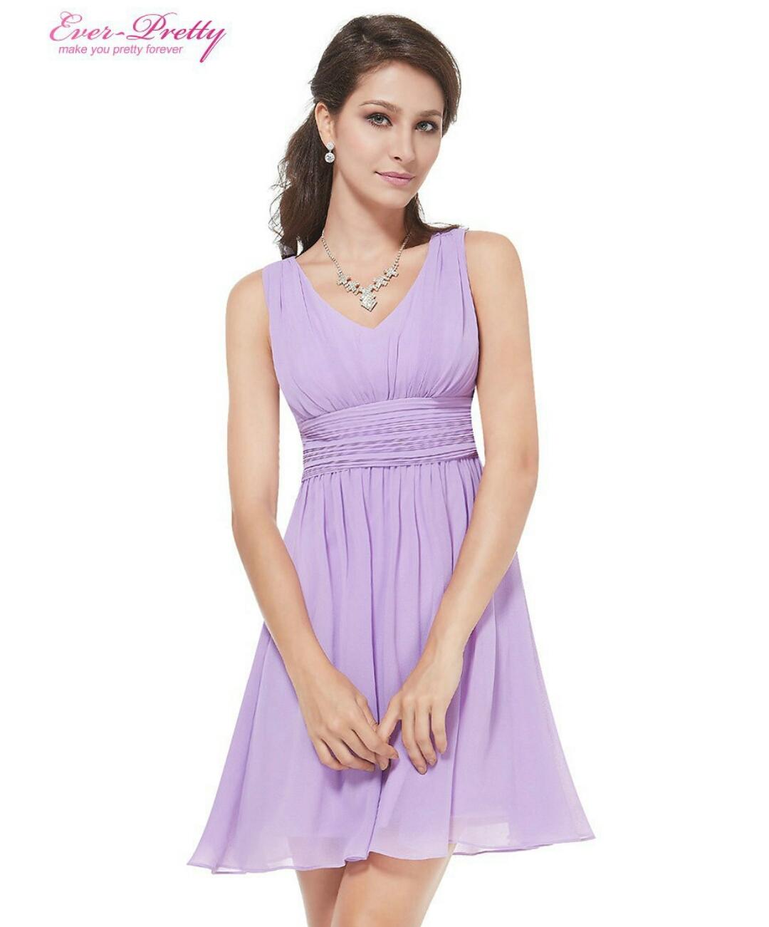 Lavender Princess Cocktail Dress เดรสคอวีสีม่วงลาเวนเดอร์ทรงปล่อยสไตล์เจ้าหญิง ชุดใส่ออกงาน ราคาไม่แพง ไซส์ L สาวอวบใส่สวย