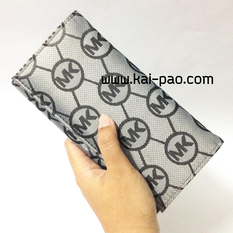 กระเป๋าสตางค์ใบยาว MK สีเงิน-ดำ ขนาด 2 พับ