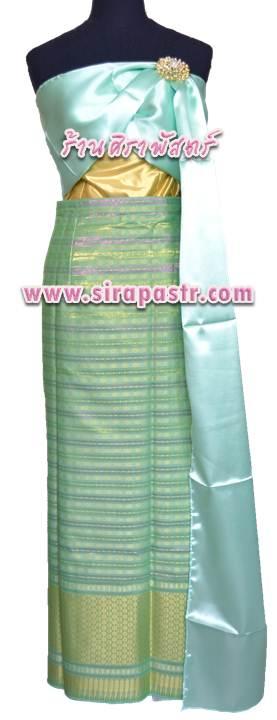 """ชุดไทย N-SB-1 (สไบผ้าเรียบ+ผ้าถุงป้ายฯ เอวใส่ได้ถึง 32"""") *รายละเอียดในหน้าสินค้า"""