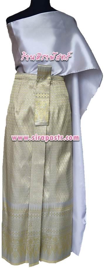 """ชุดไทย AA2 (สไบผ้าเรียบ+ผ้าถุงหน้านางฯ-เอวใส่ได้ถึง 28"""") *รายละเอียดในหน้าสินค้า"""