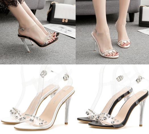 รองเท้าส้นสูงแบบหรูสีดำ/ขาว ไซต์ 35-40
