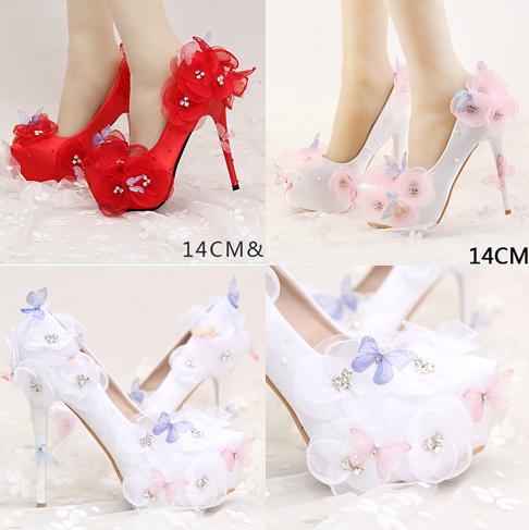 รองเท้าเจ้าสาว ไซต์ 34-39 สีแดง สีดอกไม้ขาว สรดอกไม้ชมพู ส้นสูง 10,12,14 ซม.