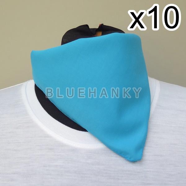 10ผืน สีฟ้าเข้ม สี่เหลี่ยม53ซม ผ้าพันคอกีฬาสี ผ้าเช็ดหน้าผืนใหญ่