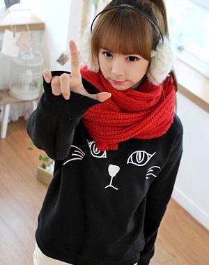เสื้อแขนยาวหน้าน้องแมวน่ารัก มาก ๆ