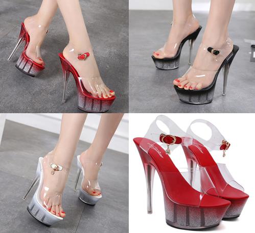 รองเท้าส้นสูงดีไซน์ส้นสวยหรูสีแดง/ดำ/ขาว ไซต์ 34-40