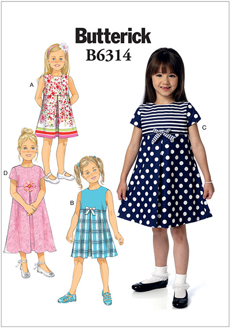 แพทเทิร์นตัดชุดเดรสเด็กหญิง Butterick 6314 Size: 2-3-4-5