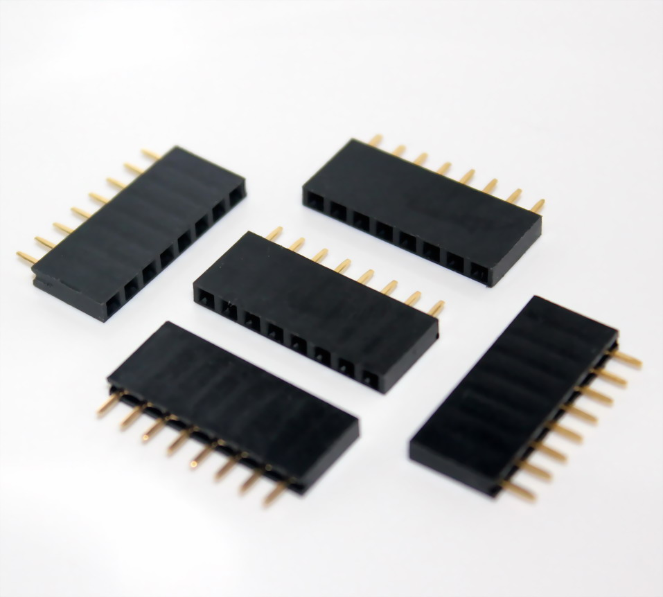 2.54mm 1X8 8Pin Gold-plated Single Row Straight Female Pin Header จำนวน 5 ชิ้น