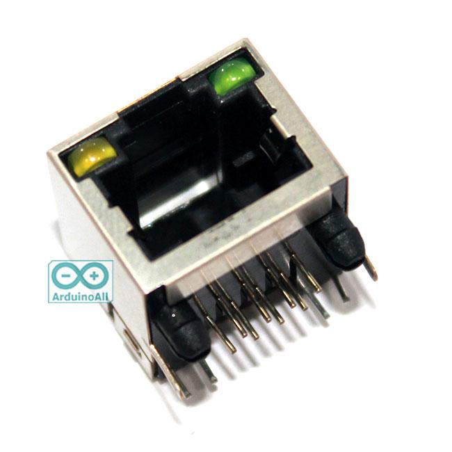 RJ45 socket with LEDs