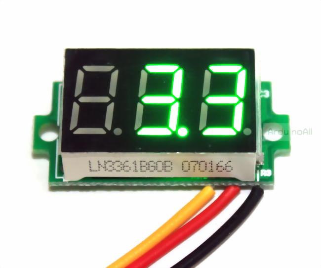 ดิจิตอล โวลต์มิเตอร์ 0 ถึง100 โวลต์ จอขนาด 0.36 นิ้ว สีเขียว Mini 3 Digital LED DC 0 -100 Volt
