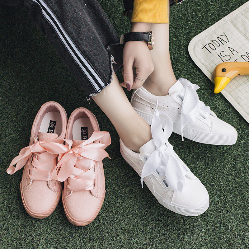 Ribbon Snaekers รองเท้าผ้าใบผูกโบว์   พร้อมส่ง