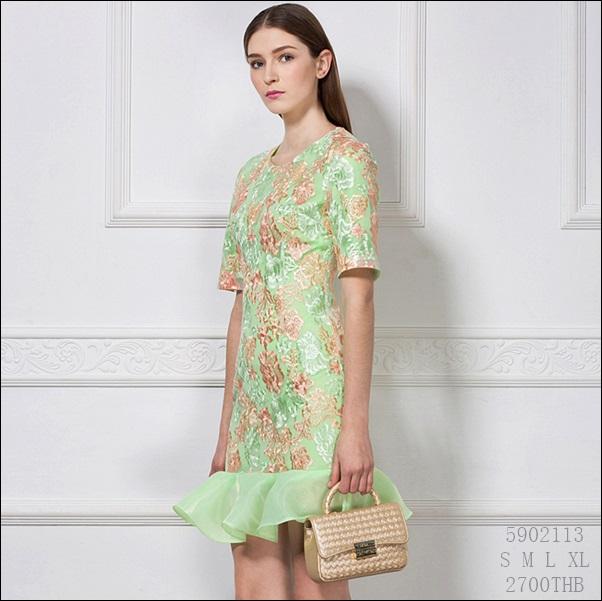 5902113 / S M L XL / 2016 Lace dress พรีออเดอร์ งานคัตติ้งยุโรป คุณภาพดีสมราคา สวยคอนเฟริ์ม