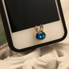 ปุ่มโฮมไอโฟนประดับเพชร รูปกระต่ายสีฟ้า