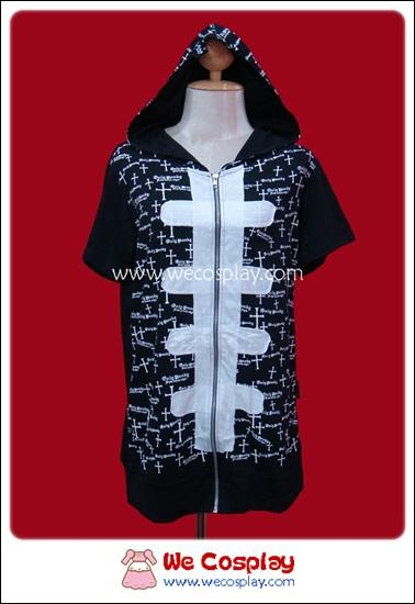 เดรสแจ๊คเก็ตพังค์ Punk Dress Jacket สีดำ ลายกางเขนสีขาว มีฮู้ด