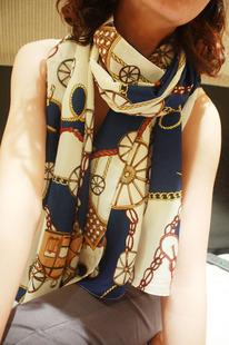 ผ้าพันคอชีฟอง สีน้ำเงิน ( รหัส P4 )