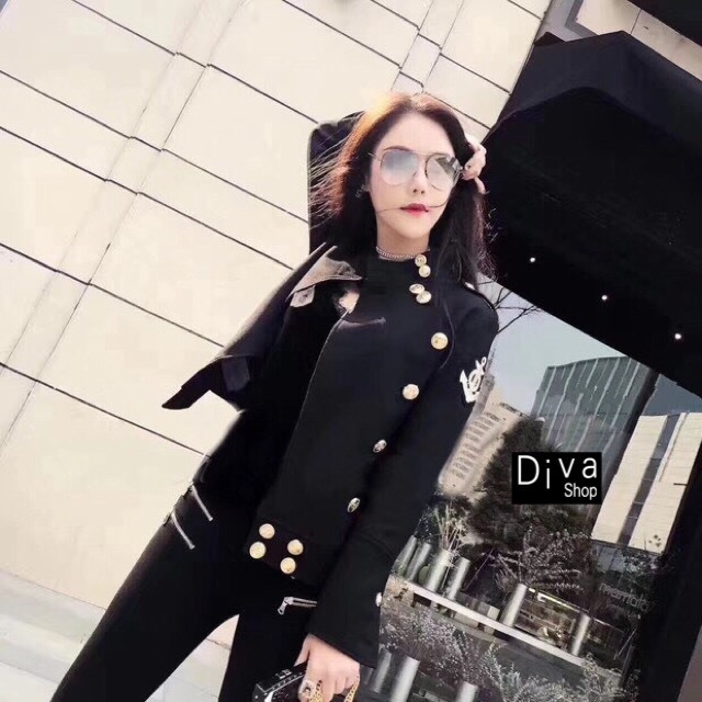 เสื้อเกาหลี พร้อมส่ง เสื้อคลุมแขนยาวเก๋ ๆ สีดำ