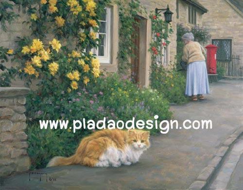 กระดาษสาพิมพ์ลาย สำหรับทำงาน เดคูพาจ Decoupage แนวภาพ น้องแมวเปอร์เชียตัวสวย เล่นซ่อนแอบกับคุณยายเจ้าของ