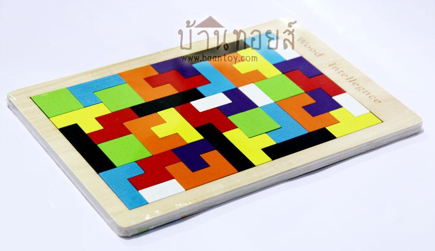 บล็อคไม้ของเล่น เกมไม้เททริส [Tetris] สำหรับเล่นต่อภาพตามจินตนาการ หรือเล่นจัดเรียงรูปทรงในถาดไม้ สร้างจินตนาการ ฝึกสามาธิ วิเคราะห์แก้ไขปัญหา