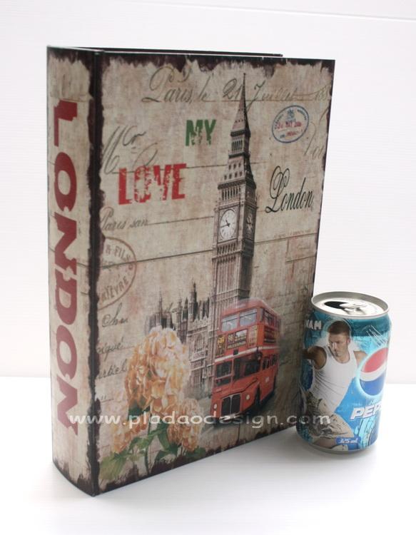 กล่องเก็บของทรงหนังสือแนววินเทจ ขนาดกลาง M ลาย Love My London