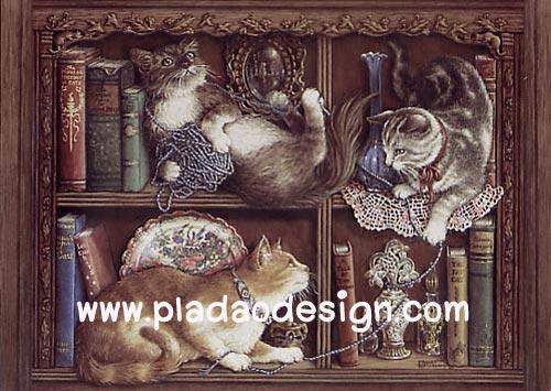 กระดาษสาพิมพ์ลาย สำหรับทำงาน เดคูพาจ Decoupage แนวภาพ แมว 3 ตัวเล่นม้วนไหมพรมกันในตู้วางหนังสือ