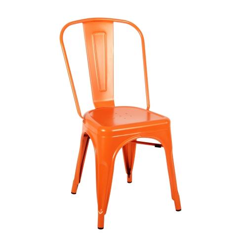 เก้าอี้เหล็ก สีส้มเก๋ๆ ดีไซน์โมเดิร์น สำหรับแต่งร้านกาแฟ คาเฟ่