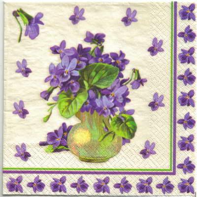 แนวภาพดอกไม้ เป็นกระถางดอกไม้โทนภาพสีม่วง บนพื้นขาว เป็นภาพ 4 บล๊อค กระดาษแนพกิ้นสำหรับทำงาน เดคูพาจ Decoupage Paper Napkins ขนาด 33X33cm