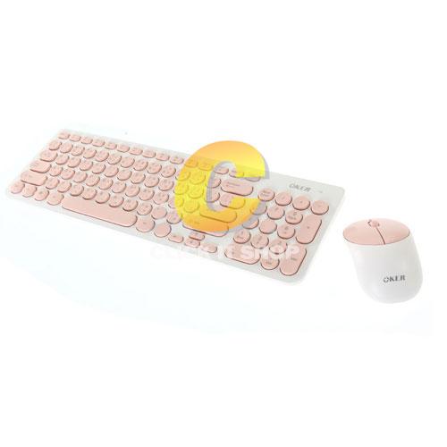 keyboard Wireless OKER (K8830) White/Pink