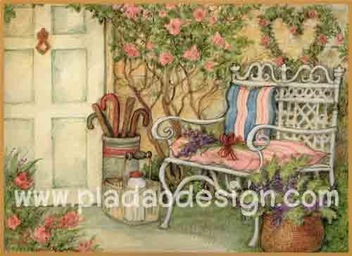 กระดาษอาร์ตพิมพ์ลาย สำหรับทำงาน เดคูพาจ Decoupage แนวภาพ บ้านและสวน เก้าอี้เหล็กสีขาวมีหมอนอิงสีสวยหวาน วางตั้งอยู่หน้าบ้านไว้ชมสวนสวย (ปลาดาวดีไซน์)