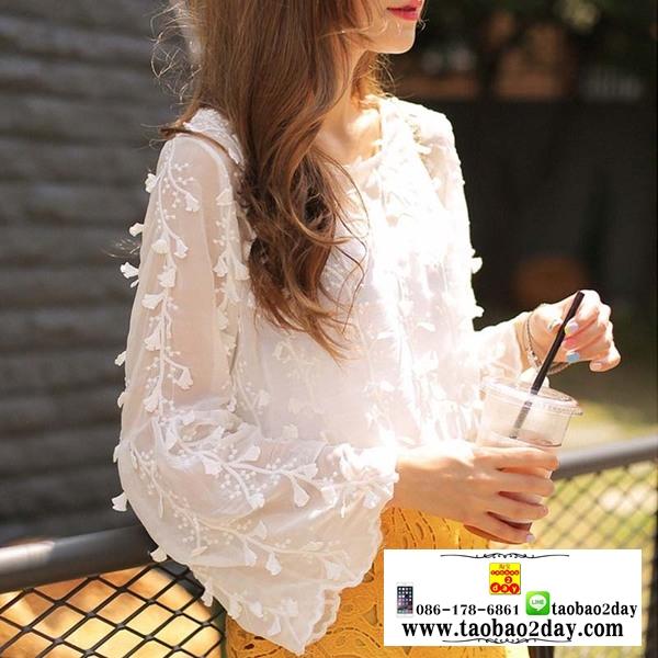 เสื้อชีฟองแขนยาวสีขาว ปักลายเส้นดอกไม้สไตล์ 3D สวมใส่สบาย