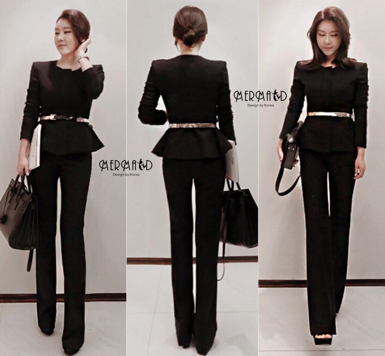 เสื้อผ้าเกาหลี พร้อมส่ง สูทแขนยาวกับกางเกง