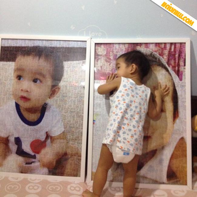 ภาพรีวิวจากลูกค้า ภาพโมเสก 20x30 นิ้ว กรอบกระจกขอบไม้สีขาว