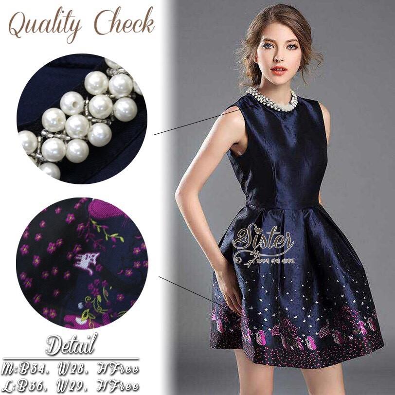 เดรสเกาหลี พร้อมส่ง เดรสสั้น ผ้า polyester+silkมันเงาสวย