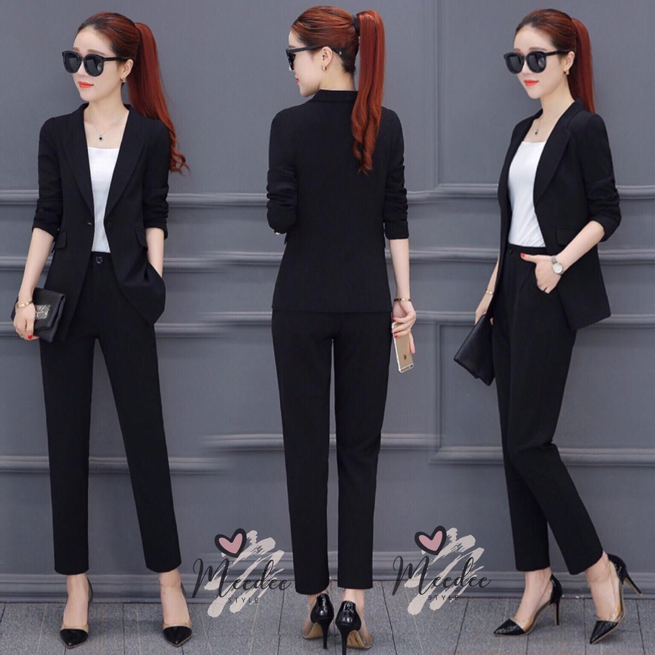 เสื้อผ้าเกาหลี พร้อมส่ง เสื้อสูท blazer + กางเกงขายาว