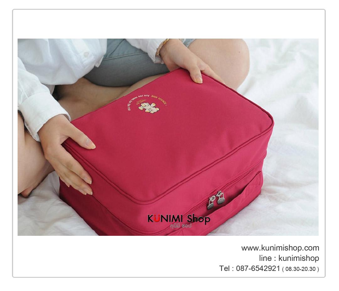 กระเป๋า(DI Size M) กระเป๋าจัดเก็บสิ่งของ พร้อมส่ง ราคาไม่แพง เช่น ใส่ของใช้ เสื้อผ้า ชุดชั้นใน กางเกงใน ถุงเท้า มีถุงตาข่ายสำหรับใส่แยกประเภท จัดระเบียบกระเป๋าเดินทาง พกพาเวลาเดินทางท่องเที่ยวต่างๆ เปิดหยิบใช้งานได้สะดวก เนื้อผ้ากันน้ำ ขนาด : 32 x 23 x 17 ซม. (Size M)
