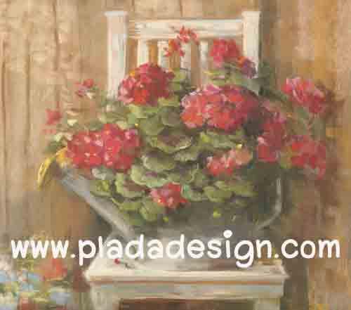 กระดาษสาพิมพ์ลาย สำหรับทำงาน เดคูพาจ Decoupage แนวภาำพ บ้านและสวน ดอกไม้หวานๆ สีแดงสด ปลูกไว้ในบัวรดน้ำสังกะสี วางอยู่บนเก้าอี้ไม้ สไตล์ภาพวาดฟุ้งๆ สวยมาก (ปลาดาวดีไซน์)